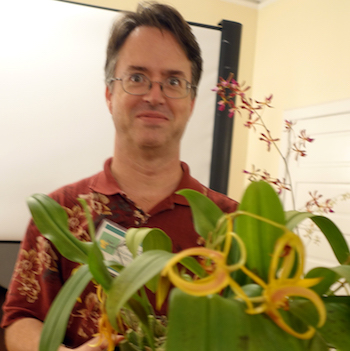 Michael Wright Holding His Namesake Bulbophyllum Michael Wright July 13 2017